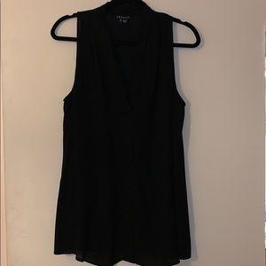 Theory black  sleeveless black silk blouse sz L